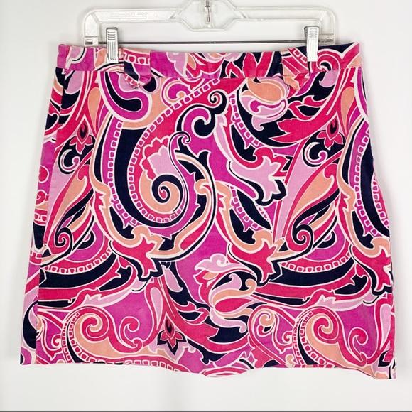 crown & ivy Dresses & Skirts - Crown & Ivy Paisley Printed Stretch Corduroy Skirt